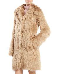 Gucci Single Breasted Alpaca Fur Jacket - Lyst