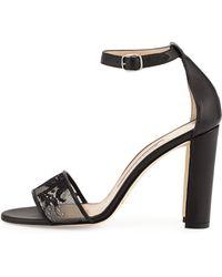 Manolo Blahnik Lauratop Leather Chunky-Heel Sandal - Lyst