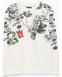 Zara Printed Sweatshirt floral - Lyst