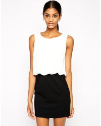 TFNC Bodycon Dress With Blouson Top And Lace Back Detail - Lyst
