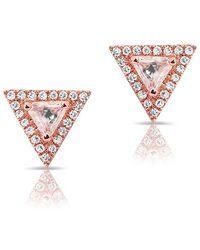 Anne Sisteron - 14kt Rose Gold White Topaz Triangle Diamond Stud Earrings - Lyst