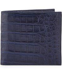 Santiago Gonzalez Crocodile Bi-fold Wallet - Blue