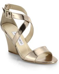 Jimmy Choo Fearne Metallic Leather Strappy Wedge Sandals gold - Lyst