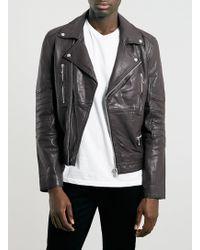 Topman Burgundy Leather Biker Jacket - Lyst
