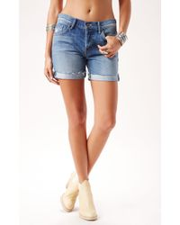 Mother Denim The Loosey Fray Short - Lyst