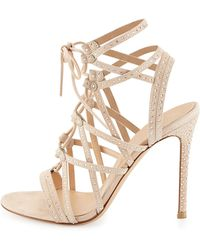 Gianvito Rossi Crystal-Embellished Suede Lace-Up Sandal - Lyst