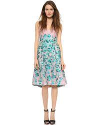 Lela Rose Square V Neck Dress - Blush - Lyst
