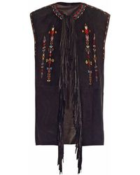 Isabel Marant Martin Embroidered Fringed Gilet - Lyst