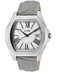 A_line - Adore Grey Genuine Leather Silver-tone Dial Ss Tonneau - Lyst