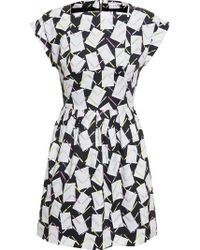 Olympia Le-Tan Cotton Dress With Stationary Print - Lyst