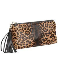 Gucci Brown Leopard Print Calf Hair Tassel Trim Clutch - Lyst
