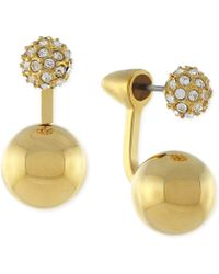 Vince Camuto - Gold-tone Pave Double Sphere Ear Jackets - Lyst