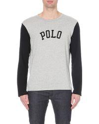Ralph Lauren Colourblocked Cotton-jersey Top - Lyst