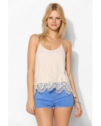 Pins And Needles - Embroidered Mesh Tstrap Cami - Lyst