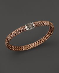 John Hardy Mens Classic Chain Sterling Silver and Bronze Medium Chain Bracelet with Brown Pave Diamonds - Lyst