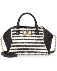 Betsey Johnson - Be My Bow Large Stripe Satchel - Lyst