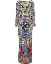 Temperley London Grey Satin Merida Fitted Dress - Lyst