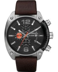 Diesel Advanced Brown Leather Mens Watch - Lyst