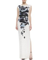 St. John Collection Rose Blossom Print Jacquard Knit Gown with Sequined Liquid Satin Waist Band - Lyst