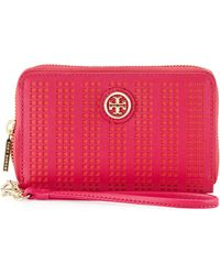 Tory Burch Robinson Perforated Smart Phone Wrist Wallet  - Lyst