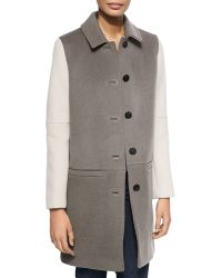 Dawn Levy Billy Shirt-Collar Colorblock Coat - Lyst