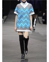 Alexander Wang Leather Trim Perforated Zigzag Shift Dress - Lyst