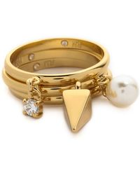 Rebecca Minkoff - Imitation Pearl & Crystal Charm Ring Set - Gold/pearl/clear - Lyst