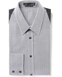 Alexander McQueen Harnessdetailed Herringboneweave Cotton Shirt - Lyst