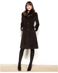 Jones New York Faux-Fur-Collar Walker Coat - Lyst