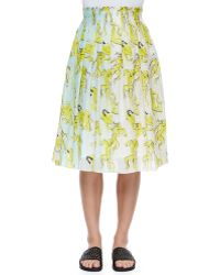 Risto People-Print Crinkled Chiffon Skirt - Lyst