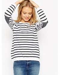 Asos Sweater In Stripe With Elbow Patch - Lyst