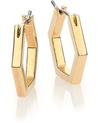 Marc By Marc Jacobs Hexagon Huggie Hoop Earrings/Goldtone gold - Lyst