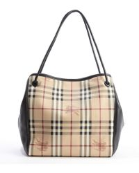 Burberry Black and Beige Coated Canvas and Leather Haymarket Check Tote - Lyst
