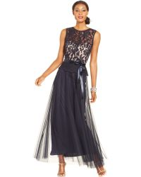 Xscape Illusion Lace Belted Peplum Gown - Lyst