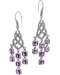 John Hardy Batu Chain Silver Amethyst Chandelier Earrings - Lyst