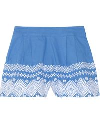 Suno Embroidered Cotton Shorts - Lyst