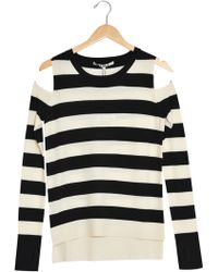 Pam & Gela P&G Striped Crop Swtr Ch990 black - Lyst