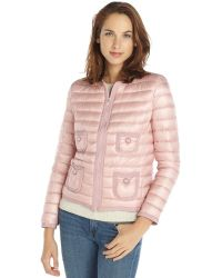 Moncler Pink Nylon Down Filled Chrissie Zip Front Jacket - Lyst