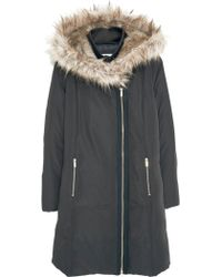 Mango - Faux Fur Trim Quilted Hooded Coat - Lyst