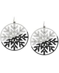 Steve Madden Hematite-tone Crystal and Glitter Snowflake Drop Earrings - Lyst