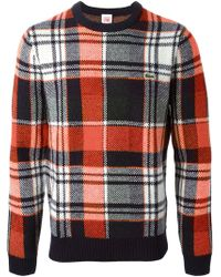 Lacoste L!ive Plaid Pattern Sweater - Lyst