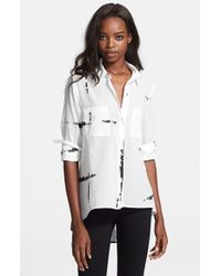 Enza Costa High/Low Cotton Voile Shirt - Lyst