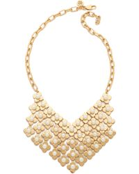 Tory Burch Babylon Bib Necklace  Ivory Shiny Gold - Lyst