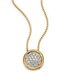 John Hardy Bamboo Diamond & 18K Yellow Gold Small Round Pendant Necklace - Lyst