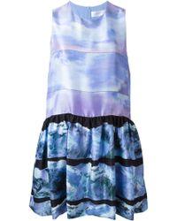 Victoria, Victoria Beckham Printed Ruffle Skirt Dress - Lyst