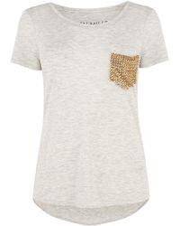 Karen Millen Stud Pocket T Shirt - Lyst