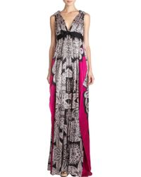 Lanvin Bow Front Paisley Print Empire Dress - Lyst