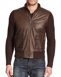 Ralph Lauren Black Label Knit-Sleeve Leather Motorcycle Jacket brown - Lyst