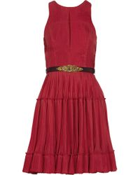 Matthew Williamson Belted Silk-Blend Chiffon Dress - Lyst