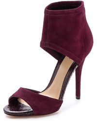 B Brian Atwood Correns Ankle Cuff Sandals Dark Red - Lyst